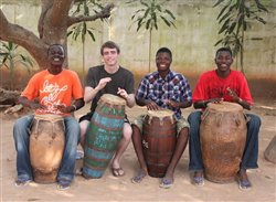 African drumming class at the Dagbe Centre in Ghana, West Africa